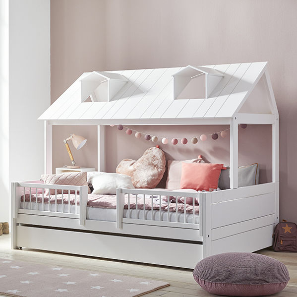 White children\'s bedroom furniture set / pink / lacquered ...