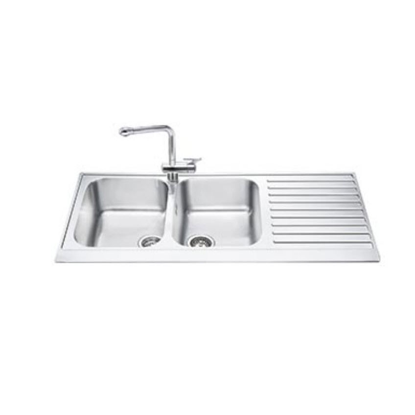 Double Kitchen Sink Lpd116d Smeg Stainless Steel Overmount With Drainboard