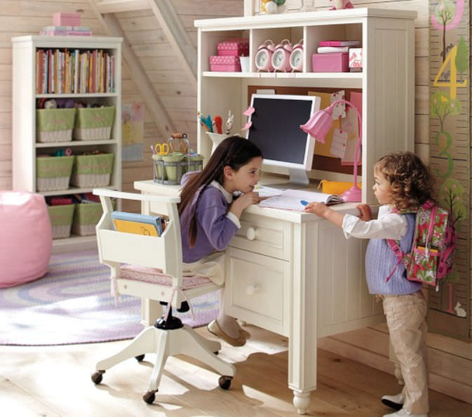 Wooden Desk Contemporary With Shelf Child S