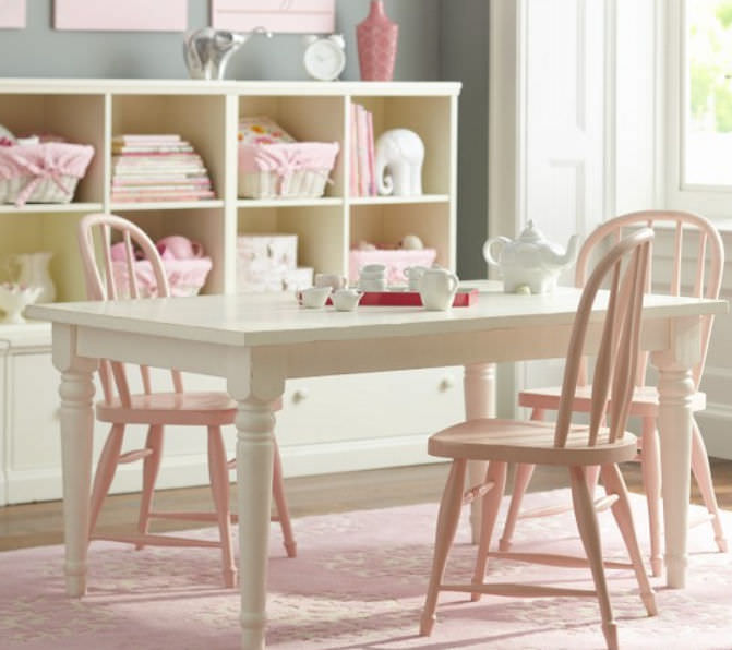 Contemporary Table And Chair Set Farmhouse Pottery Barn Kids Wooden Child S Girl S