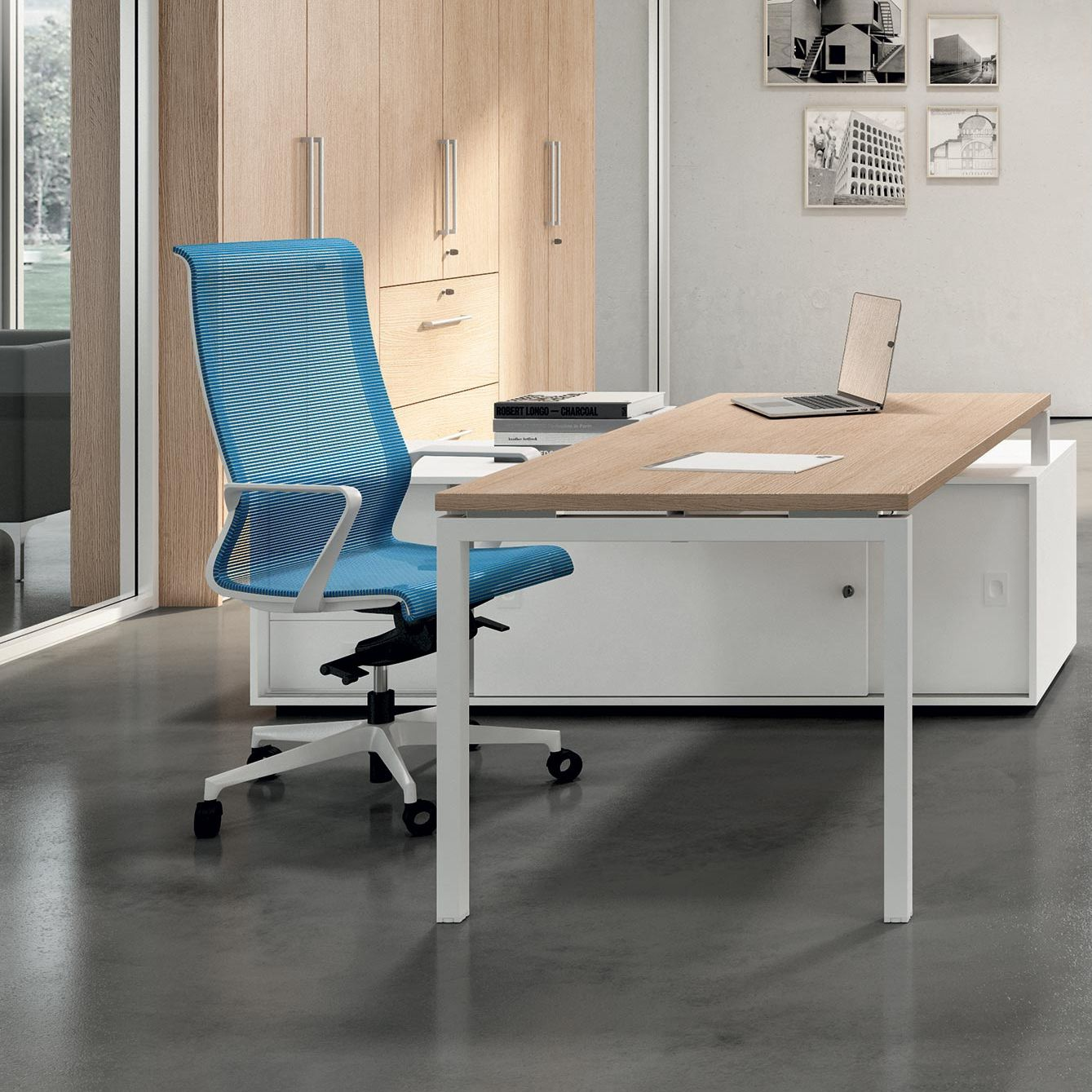 Contemporary Executive Chair Dinamica Quadrifoglio Sistemi D Arredo Mesh Polished Aluminum With Headrest