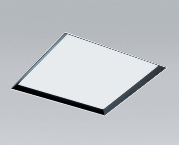 Recessed ceiling light fixture fluorescent square aluminum