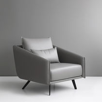Contemporary armchair / fabric / leather / gray