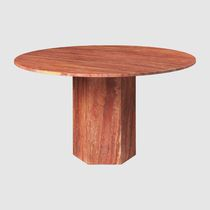 Traditional dining table / travertine / travertine base / round