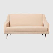 Minimalist design sofa / beige / fabric / 2-person