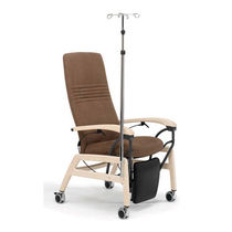 Fabric medical chair / reclining / on casters / with legrest