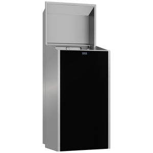 hygienic trash can / built-in / stainless steel / contemporary