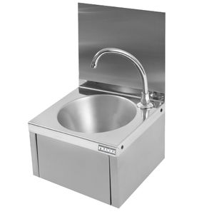 wall-mounted hand basin / rectangular / stainless steel / commercial
