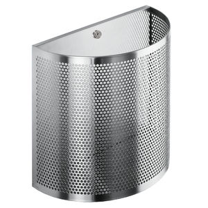 public trash can / wall-mounted / stainless steel / commercial