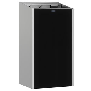 public trash can / wall-mounted / stainless steel / glass