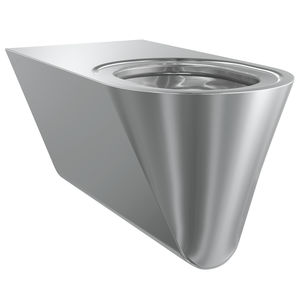 wall-hung toilet / stainless steel / for public washroom