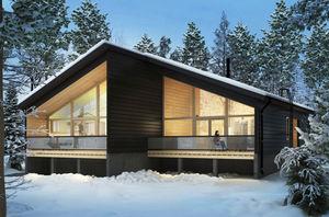 duplex house / modern / wooden frame / glass