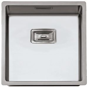 single-bowl kitchen sink / ceramic-coated / brushed stainless steel / square