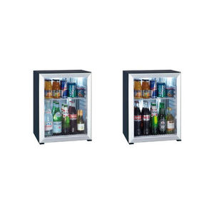 glass-front minibar / French door / with built-in light / for hotel