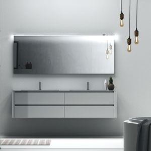 double washbasin cabinet / wall-hung / laminate / contemporary