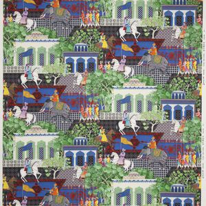 upholstery fabric / scenic pattern / cotton