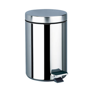hygienic trash can / polished stainless steel / commercial / contemporary