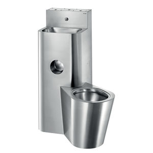 free-standing toilet / stainless steel / with integrated hand basin / for public washroom