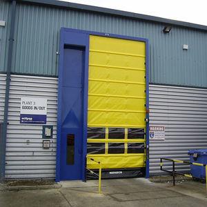 folding industrial doors / steel / PVC / automatic