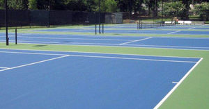 polyurethane-coated sports flooring / for outdoor use / for tennis courts