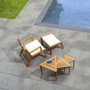 traditional armchair / Batyline® / teak / gray
