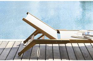 contemporary sun lounger / teak / garden / adjustable backrest