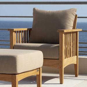 contemporary armchair / teak / garden