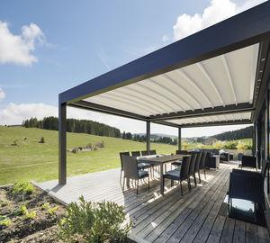 wall-mounted pergola / aluminum / fabric canopy / retractable