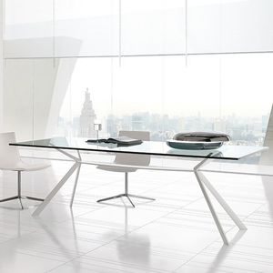 contemporary dining table / MDF / glass / painted steel