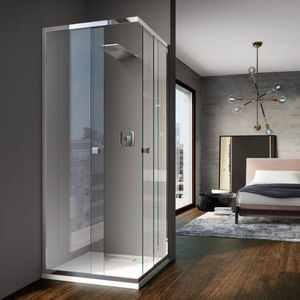 corner hydromassage cabin / glass / tempered