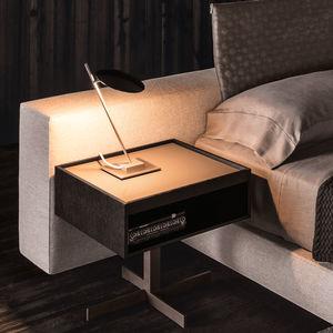 contemporary bedside table / oak / MDF / metal base