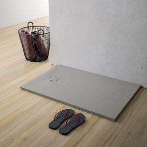 rectangular shower base / floor level / ceramic / non-slip