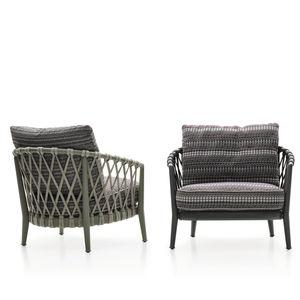 contemporary armchair / fabric / cast aluminum / rope