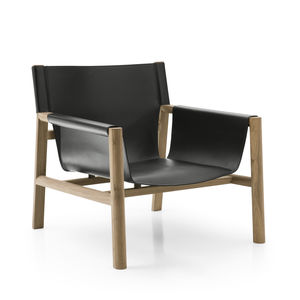 contemporary armchair / leather / wood / black