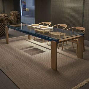 contemporary table / solid wood / walnut / glass