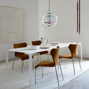 contemporary dining table / Cristalplant® / rectangular / white