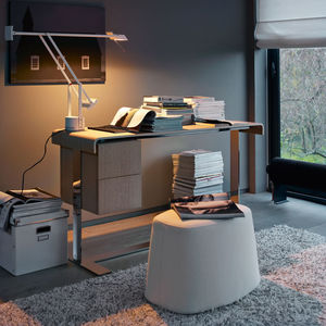 contemporary secretary desk / wooden / steel / leather