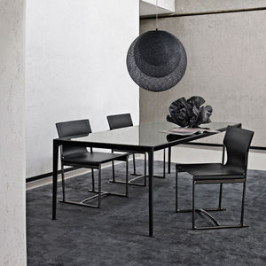 contemporary table / glass / marble / MDF