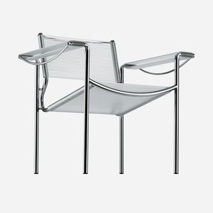 contemporary armchair / leather / chrome steel / PVC