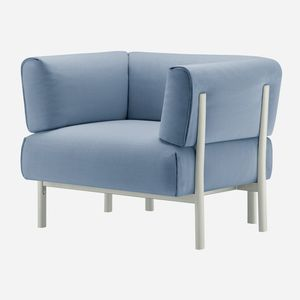 contemporary armchair / fabric / leather / cast aluminum