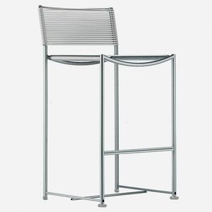 contemporary bar chair / with footrest / recyclable / brushed stainless steel