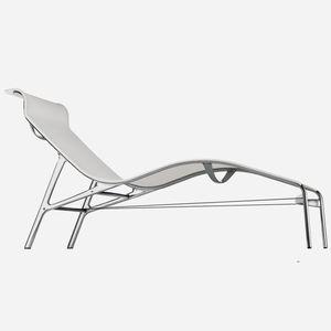 contemporary sun lounger / cast aluminum / leather / PVC