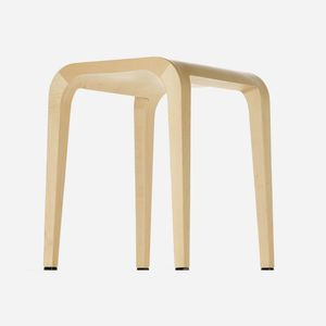 contemporary stool / oak / solid wood / walnut