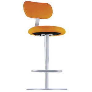 contemporary bar chair / with footrest / central base / fabric