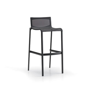 contemporary bar stool / leather / fabric / cast aluminum