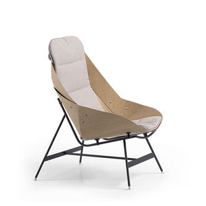 original design armchair / fabric / wood veneer / lacquered steel