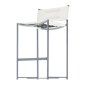 contemporary bar chair / with footrest / brushed stainless steel / in polyester mesh