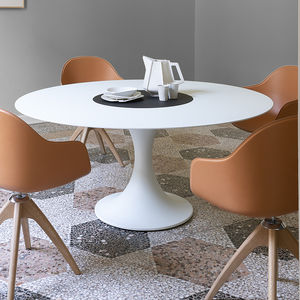 contemporary table / lacquered MDF / aluminum / marble
