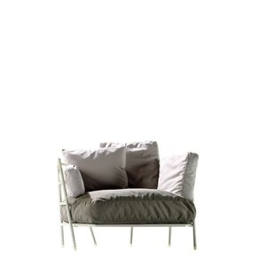 contemporary armchair / fabric / steel / with washable removable cover