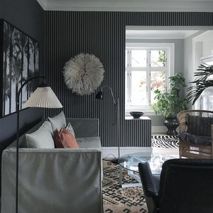 traditional wallpaper / striped / fabric look / gray